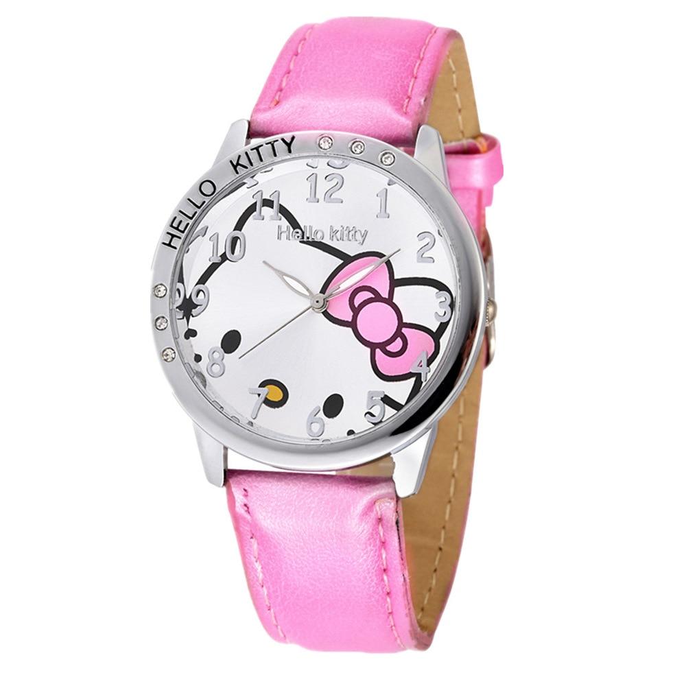Hello Kitty Women Watches Kids Children Cartoon Leather Strap Quartz Wrist Watch Clock Gifts For Girls Kids Ladies Watch Fashion