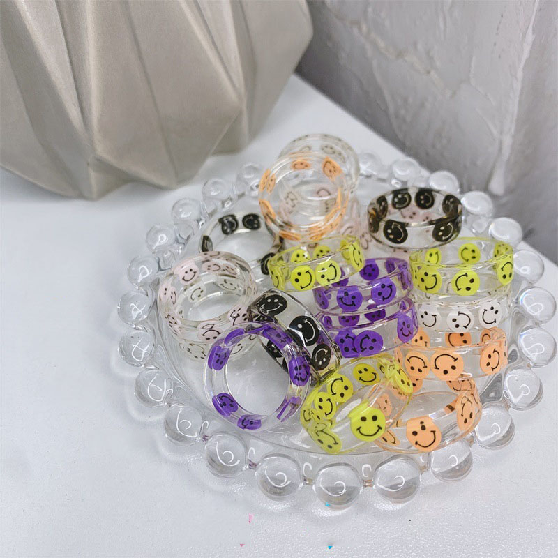 1PCS Cute Hot Geometric Round Transparent Colorful Acrylic Resin Smiley Love Finger Ring For Women Girls Party Summer Jewelry