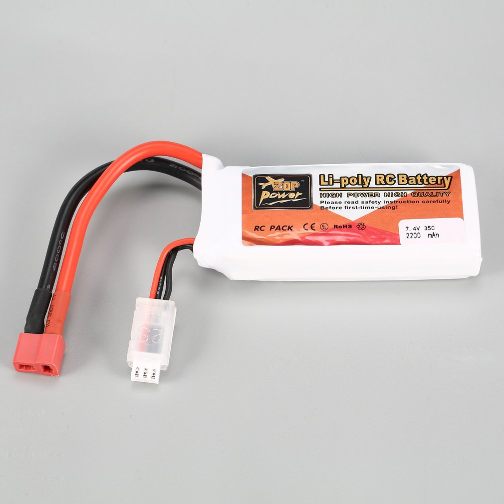 Hot Sale ZOP Power RC 7.4V 2200mAh 35C 2S 2S1P Lipo Battery T Plug Rechargeable For RC Drone Helicopter Multicopter Car Model image
