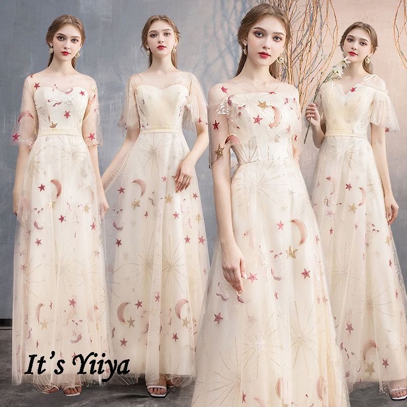 Bridesmaid Dress Long It's Yiiya BR472 Elegant Embroidery Stars Pattern Wedding Guest Dresses A Line Champagne Formal Gowns