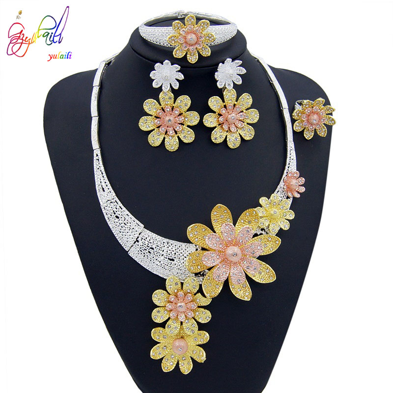 Yulaili 2019 New Dubai Gold Jewelry Sets Women Fashion Tricolor Flower Design Necklace Earrings Romantic Party Wedding Jewellery in Jewelry Sets from Jewelry Accessories