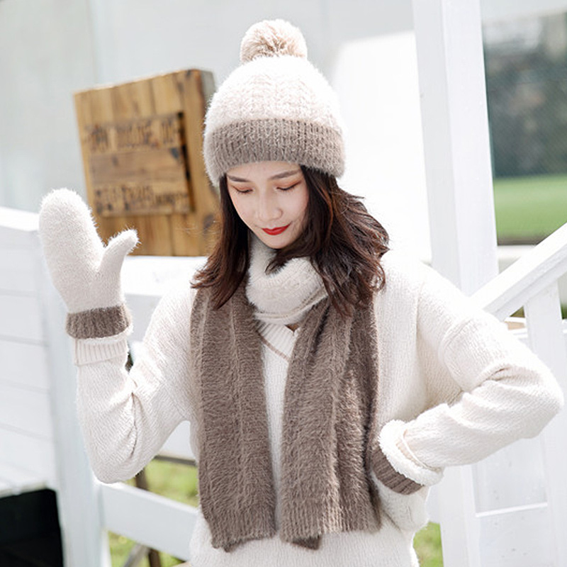 Faux Fur Winter Hat Scarf Gloves Sets Solid Thick Warm Outdoor Women Cap Gloves Set Fashion Outdoor Windproof Girl Beanie Bonnet