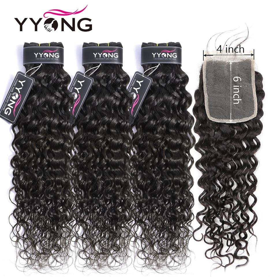 Yyong 4x6 Water Wave Closure With Bundles Brazilian Human Hair 3/4 Bundles With Closure Remy Hair Weave Bundles With Closure