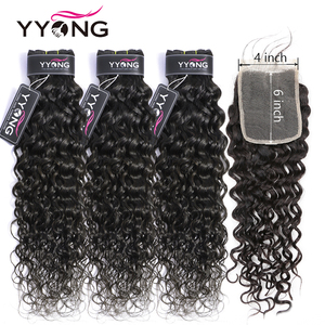 Yyong 4x6 Water Wave Closure With Bundles Brazilian Human Hair 3/4 Bundles With Closure Remy Hair Weave Bundles With Closure(China)