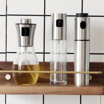 Glass Olive Oil Sprayer Stainless Steel Oil Sprayer Empty Bottle Dispenser Picnic Salad Grilling Kitchen Cooking Tool Set