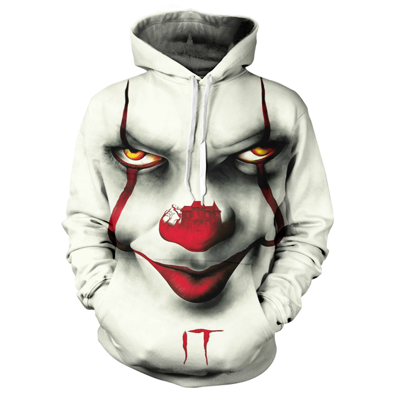 Men's Hoodie 3D Funny Clown White Cartoon Large Size Casual Shirt Autumn And Winter New Men's Fashion Trend Street Clothing