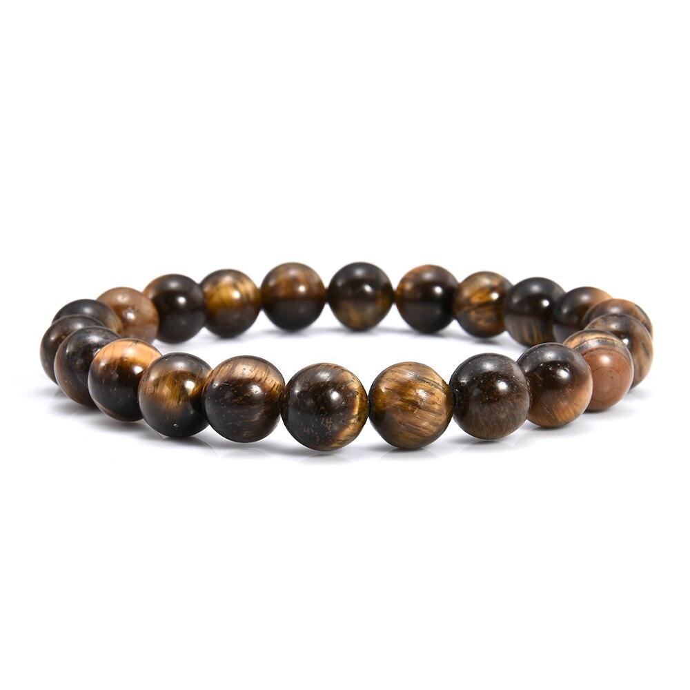 8mm Tiger Eye Stone Beads Bracelets Bangles For Men Women Strand Bracelet Jewelry Accessories mens jewellery