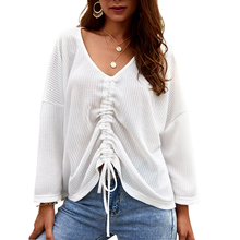 Spring Womens Casual V Neck Tee Top Ladies Long Sleeve Pleated Lace Up Knitted T Shirt Autumn Solid Knit Tops Four Color