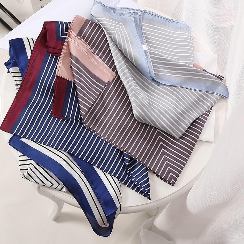 Fashion Print Kerchief Silk Satin Hair Scarf For Women Small Shawls Neck Scarfs 70cm Square Headband Bandana Scarves For Ladies