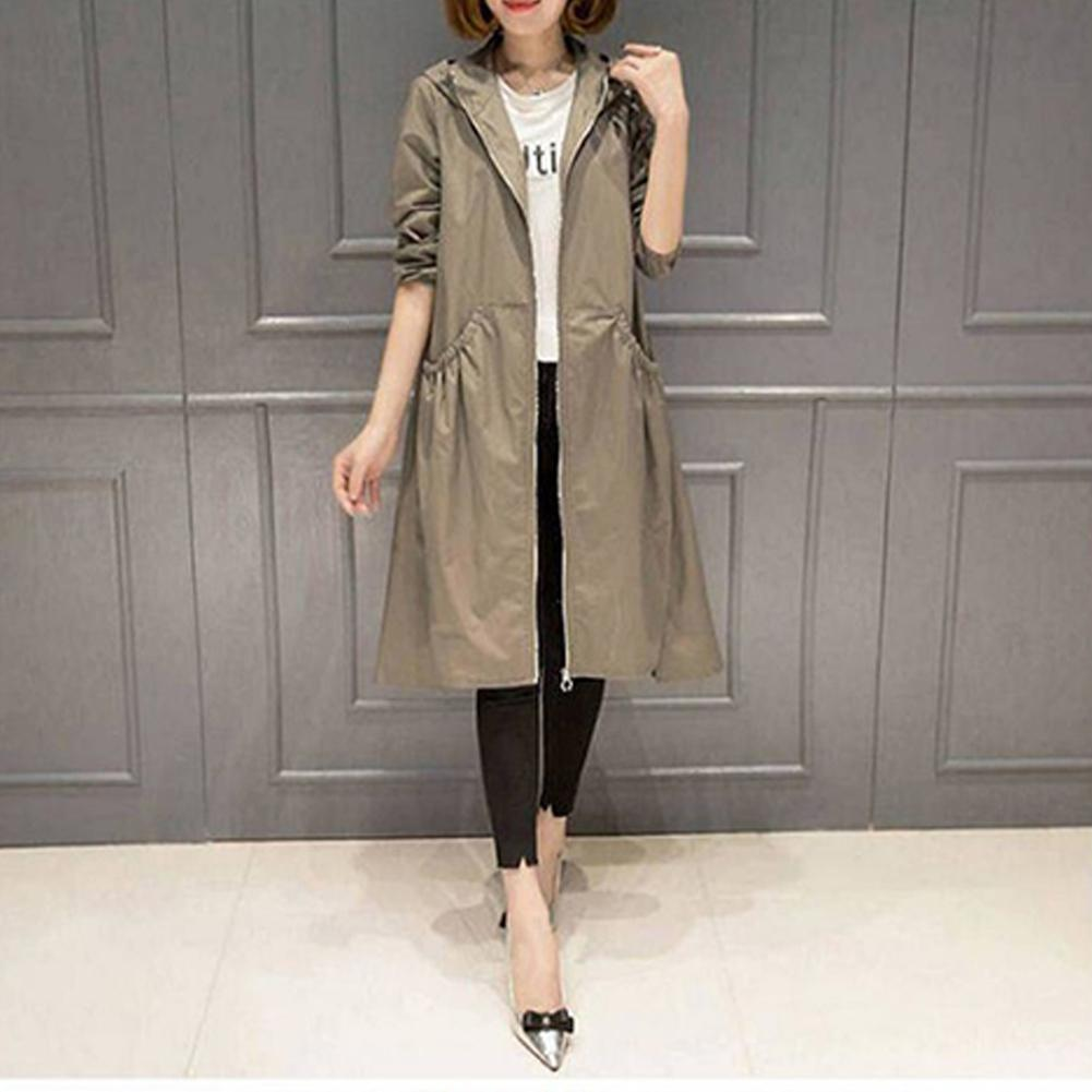 DSstyles New Style Fashion Plus-size Loose Windbreakers Hooded Dust Coat Overcoat Long Sleeves   Trench   Coat for Woman