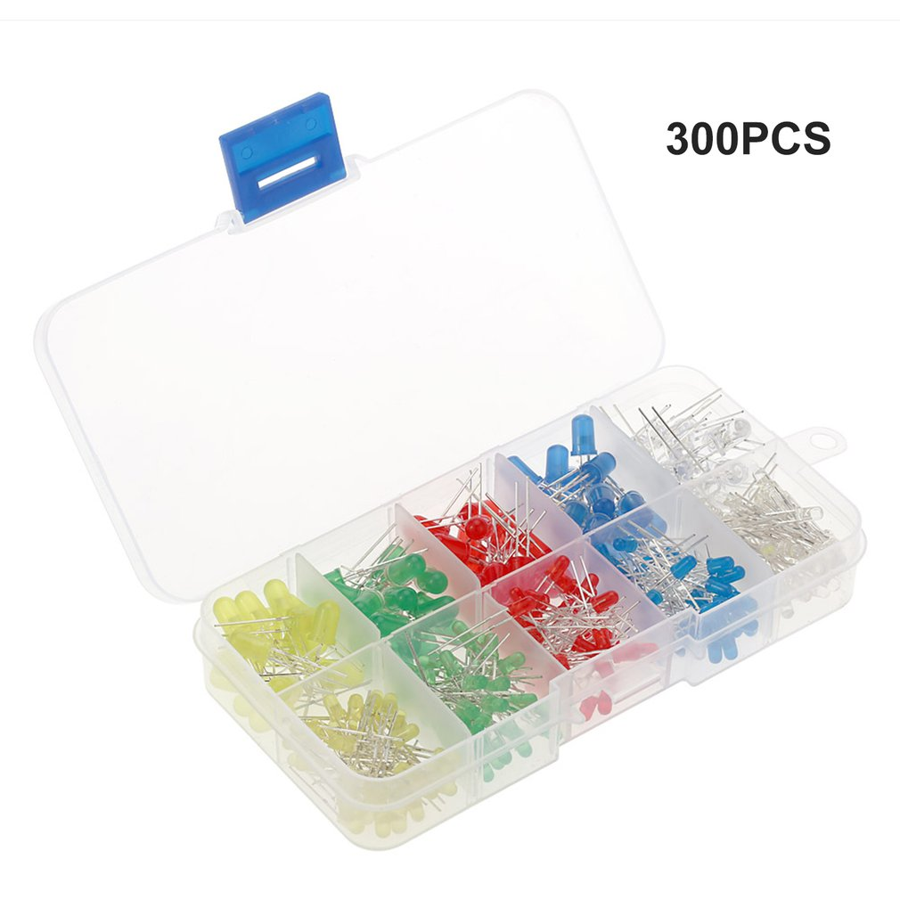 3mm Diffused LED Diode Assortment Kit Assorted Color LEDs And Resistors 300pcs Light Emiting Diode Indicator Lights