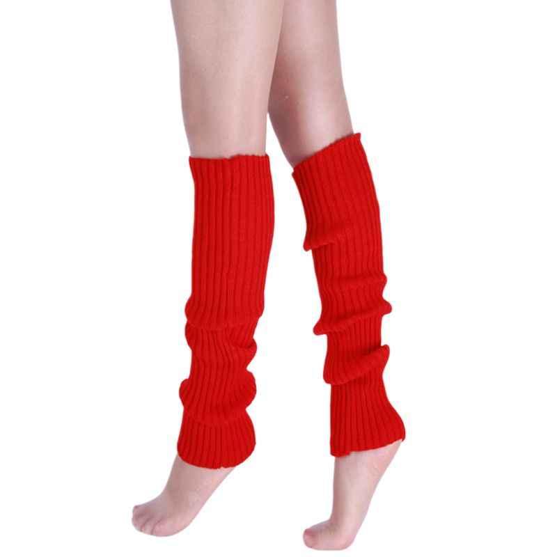 ผู้หญิง 80s นีออนเรืองแสง Ribbed ถักโครเชต์ขาอุ่น Bright เต้นรำสีทึบยาว Footless ถุงเท้า Party อุปกรณ์เสริม