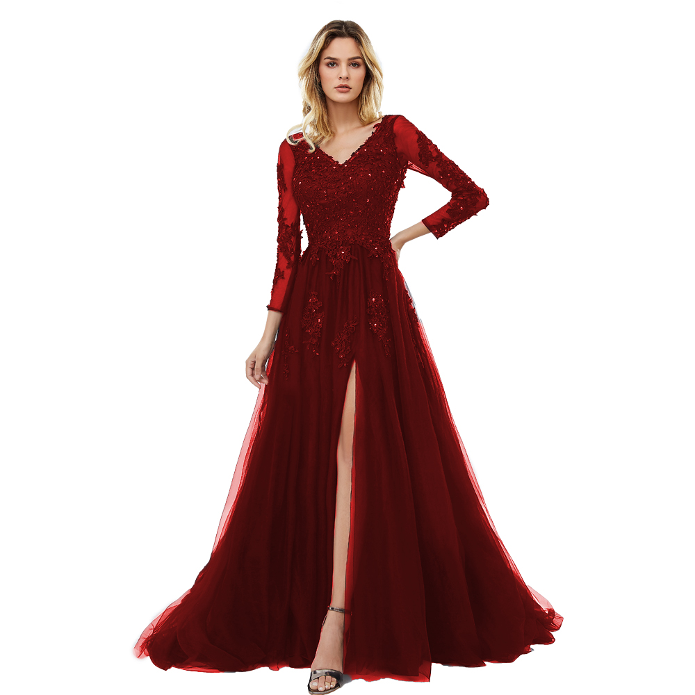 BEPEITHY 2019 V Neck Aline Prom Dresses Long Sexy Backless Lace Bodice Evening Party Gowns With Long Sleeves