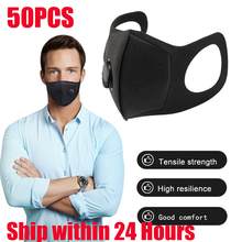50Pcs Washable elastic Earloop Face Breathing Mask Reusable Cotton Mouth Mask Fashion Black Mask For Adults