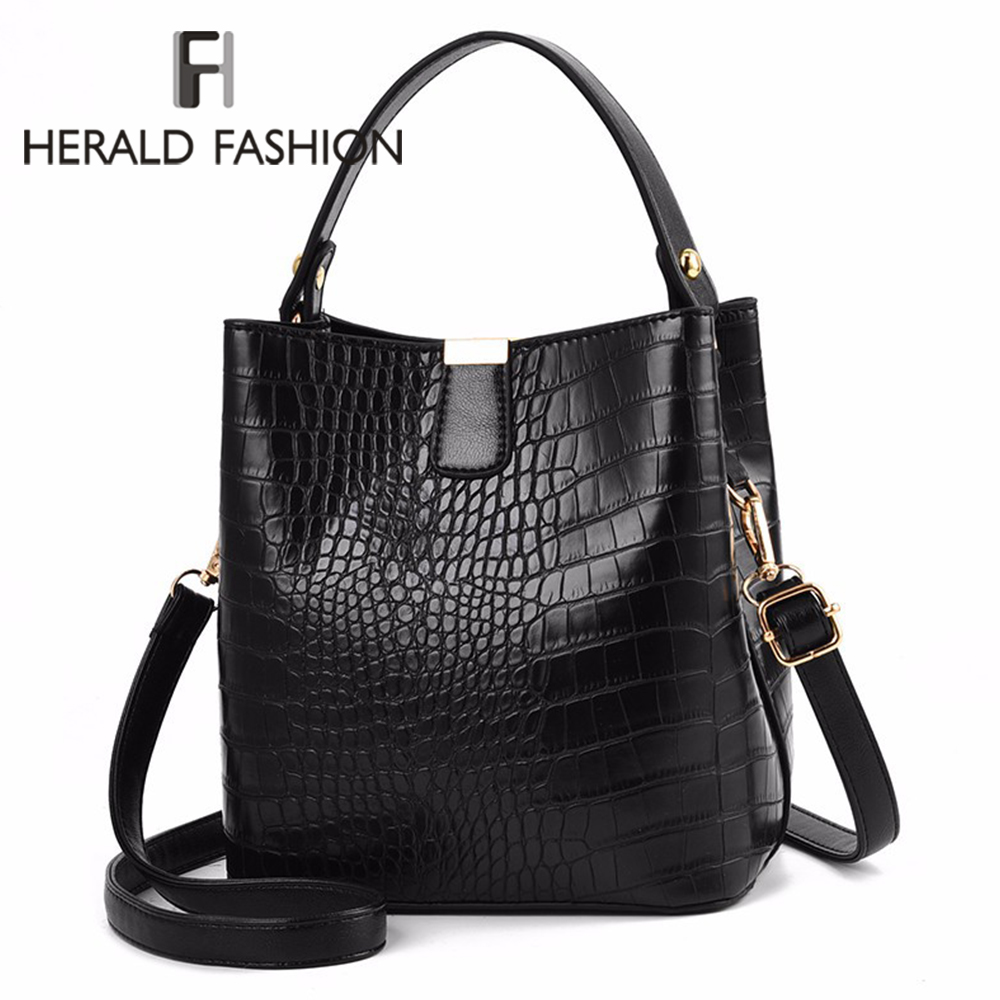 Fashion Large Alligator Bucket Tote Bags Women Crocodile Pattern Handbags Casual Shoulder Messenger Bags Ladies PU Purse
