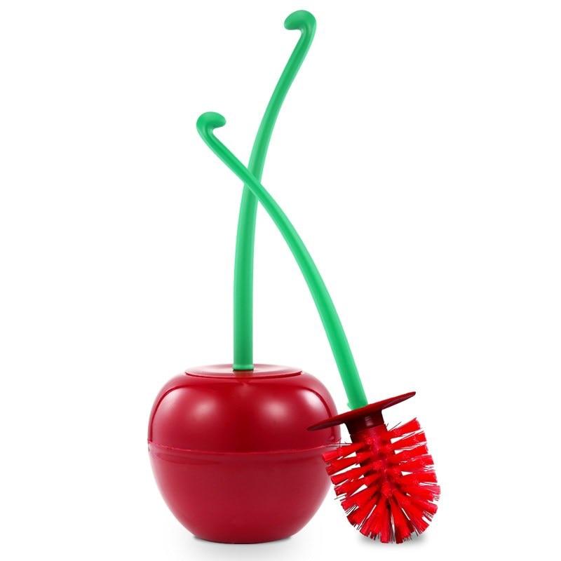 Toilet Brush Cherry 1Set Creative Lovely Cherry Shape Lavatory Brush Toilet Brush Holder Set For Washroom Clean Tools