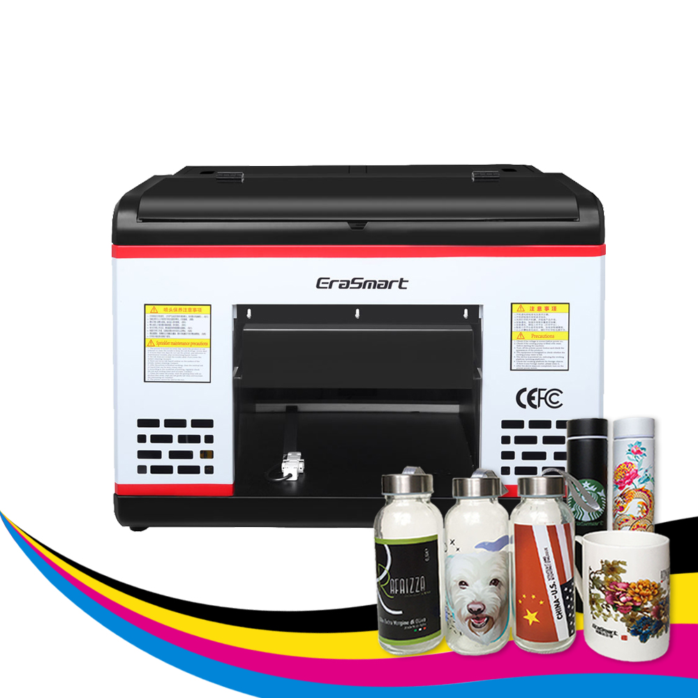 Erasmart cyfrowa drukarka atramentowa XP600 płaska drukarka A3 UV do etui na telefon szklany kubek na butelki