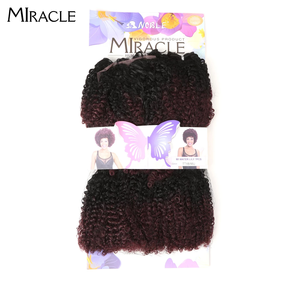 Miracle Kinky Curly Hair-Bundles Short Synthetic-Hair-Extensions Afro Ombre Closure