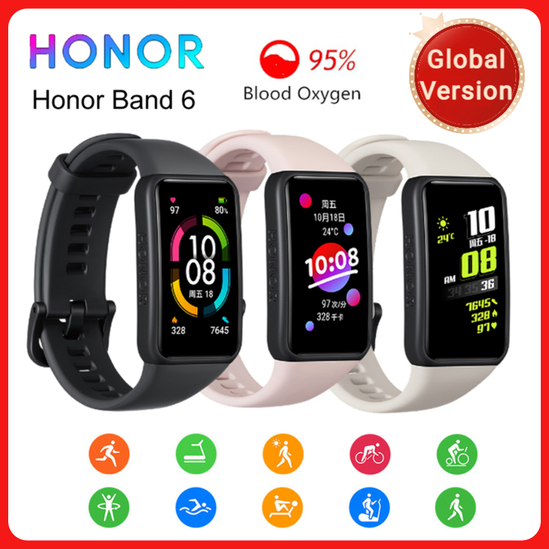 Оригинальный Honor Band 6 глобальная Версия смарт-часы-браслет Водонепроницаемый монитор сердечного ритма кислорода в крови, активно-матричные ...