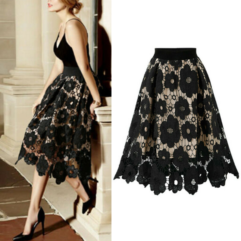 Women's Skirt Printed Sexy Party Elegant Elastic Waist Lace A-line One Size Retro High Quality Fashion Ladies Skirt