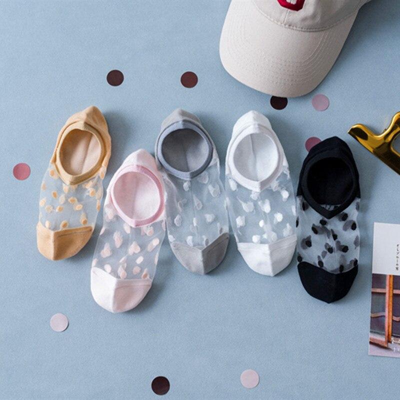 5 пар, носки для женщин из мультфильмов Kawaii/детские новые летние в горошек, носки-невидимки, мягкий шелк тонкие прозрачные носки до лодыжки и...