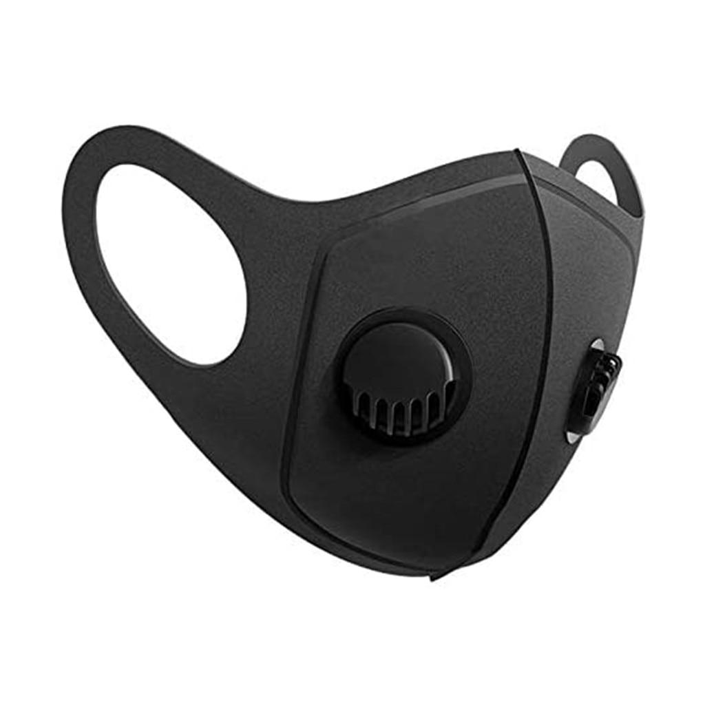 Моющаяся многоразовая маска для рта унисекс, Тканевые маски для лица PM2.5, защитные маски с фильтрующими клапанами, черные маски, 1 шт.