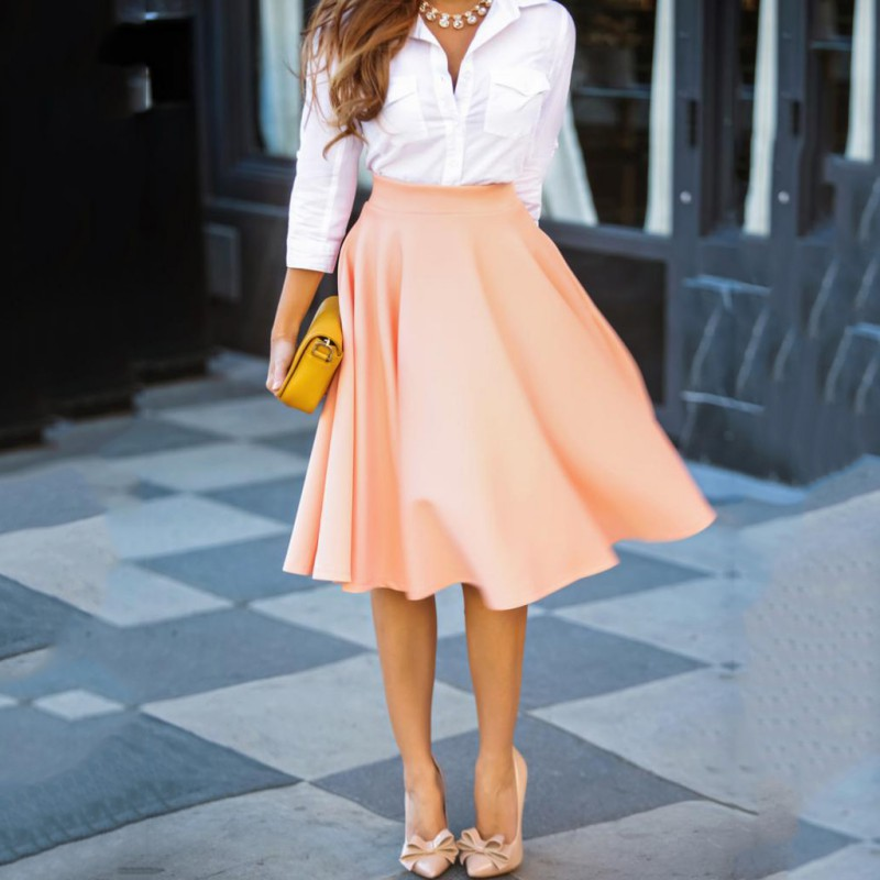 Vintage Women Stretch High Waist Skirts Flared Pleated Swing Mid-Length Skirt Ladies Fashion Casual Solid Color Big Skirt