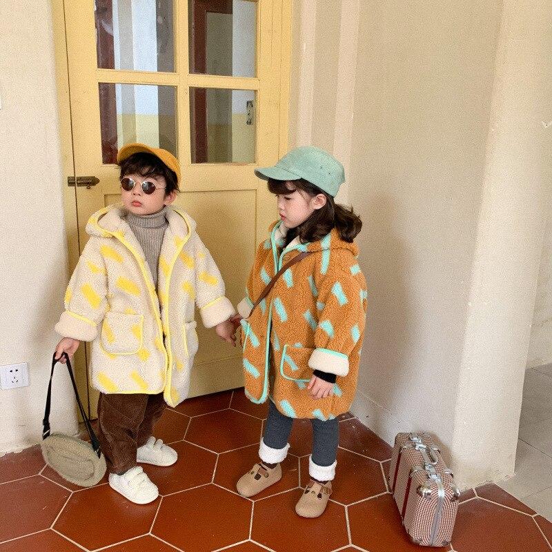 Корейский стиль, шерстяные теплые куртки с капюшоном и принтом для детей 2020, зимние свободные длинные пальто для мальчиков и девочек-0