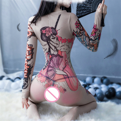 Chinese Style Sexy Mesh Fishnet Bodystocking Erotic Lingerie Hot Open Crotch Women Babydoll Costumes Crotchless Sex Clothes