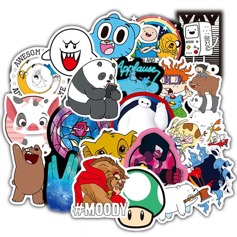 100pcs/Pack Cartoon Anime Funny Stickers Laptop Skateboard Suitcase Guitar Motorcycle Funny Graffiti Waterproof Sticker Kid Toy