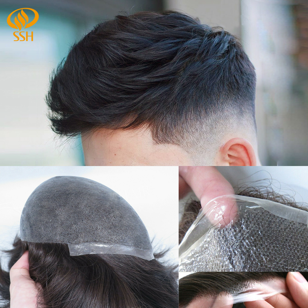 SSH Ultra Thin Skin 0.04-0.06mm Mens Toupee Remy Hair V-Loop Invisible Knots Mens Hair Replacement Systems Handmade Men Wig