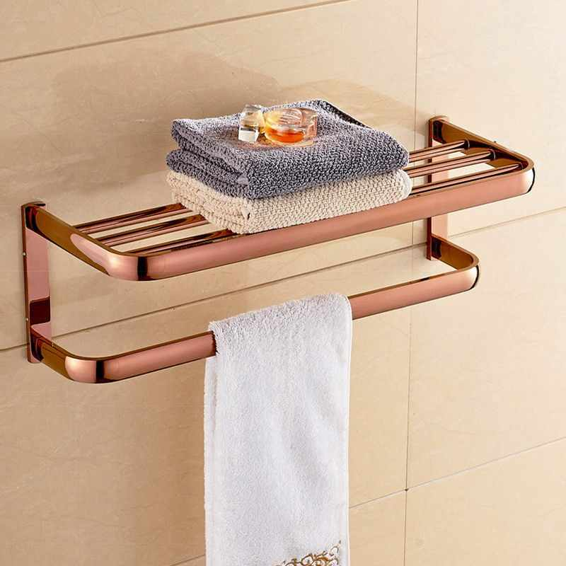 Rose Gold Messing Quadrat Bad Hardware Sets Handtuch Rack Bad Wc Papier Halter Zahnbürste Halter Bad Zubehör Kxz010