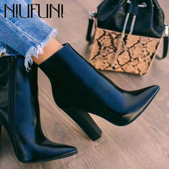 NIUFUNI Leather Boots Women Shoes High Heels Black Ankle Boots Pointed Toe Short Botas PU Leather Thick Heeled Ladies Shoes 2018 autumn winter women shoes ankle boots genuine leather pointed toe high heels embroidery black runways shoes tenis feminino