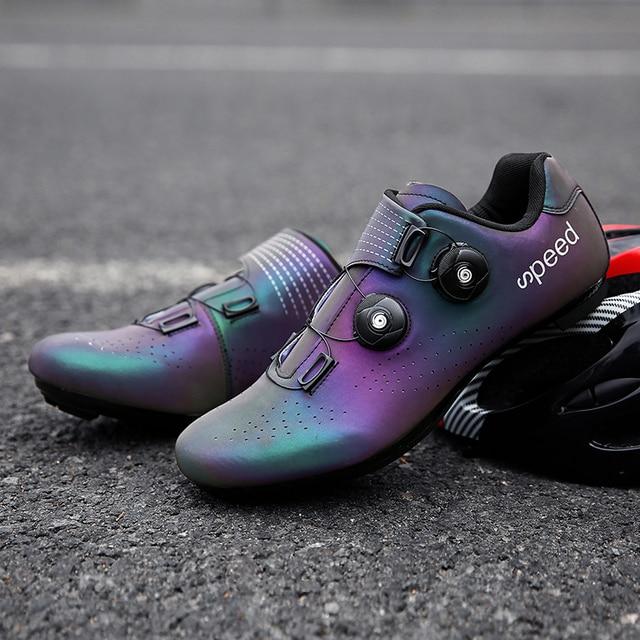 Sapatos de ciclismo de estrada colorido cor reflexiva mudando profissional mountain bike respirável bicicleta corrida auto-bloqueio sapatos 3