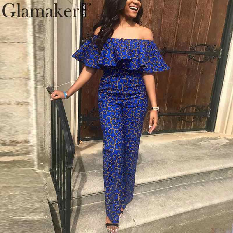 Glamaker Ruffle overalls for women jumpsuit romper Off shoulder vintage retro sexy jumpsuit long 2019 elegant jumpsuit female
