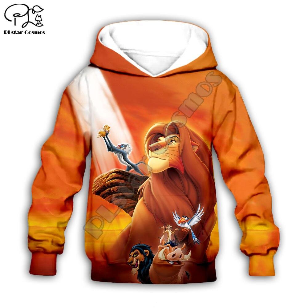 Family Look Movie The Lion King Cartoon Hoodies Kids Baby 3D Simba Printed Zipper Sweatshirts Long Sleeves Harajuku Streetwear