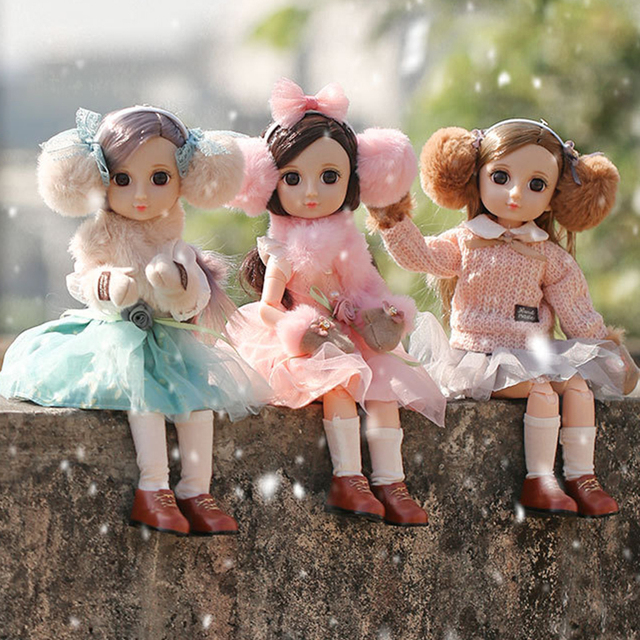 30CM BJD Doll 15 Ball Joints Bjd Dolls With Winter Outfits Dress Girl Princess Gift Make up Girls DIY BJD Toys Best Gift for Kid 1
