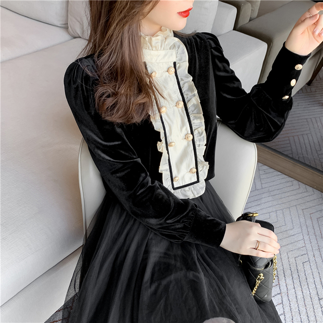 New Spring Vintage Blouse Women Long Sleeve Double Breasted Shirt Velvet Tops Stand Collar Ruffles Patchwork Sweet Blouses 4