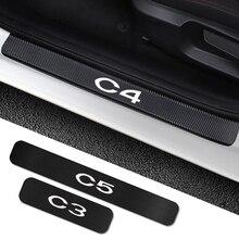 Pegatinas de umbral de puerta de coche, Protector de umbral automático, accesorios de personalización de automóviles, de fibra de carbono, 4 Uds., para Citroen C4, C1, C5, C3, C6, C ELYSEE, VTS