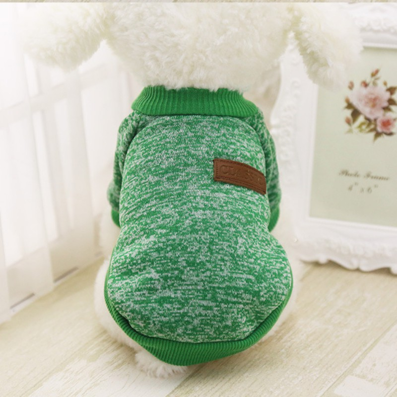 Одежда для собак, теплый свитер, мягкая куртка для чихуахуа, одежда для собак, одежда для щенков, куртка для собаки, зимняя одежда для маленьких собак - Цвет: Зеленый