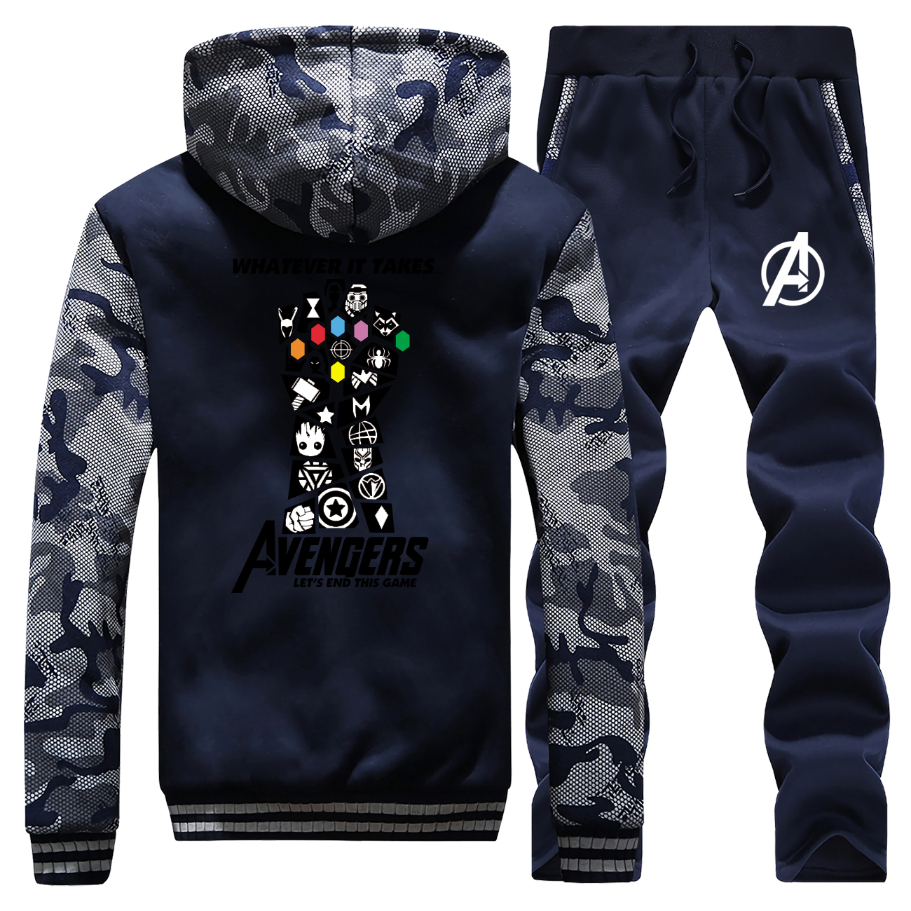 The Avengers Winter Hot Sale Camouflage Mens Hoodie Coat Thick Infinity Gauntlet Sportswear Warm Jackets+Pants 2 Piece Set Suit