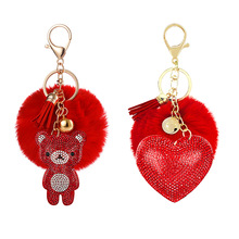 Keychain Small Wallet Plush-Ball Heart Peach Bear-Pendant Gift Rhinestone Cute Love Bag