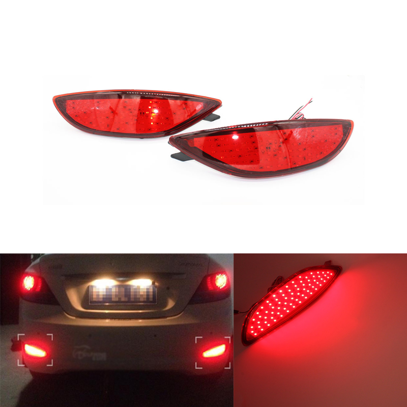 2x červená čočka LED světlomet zadního nárazníku světlo zadní brzda Parkovací výstražné světlo do mlhy pro Hyundai Accent Verna Brio 2008-2015