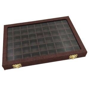 Image 5 - Hat kutusu 54 ızgaraları şeffaf cam kapaklı yüzükler tutucu vitrin takı ambalaj organizatör mücevher kutusu küpe kolye bilezik