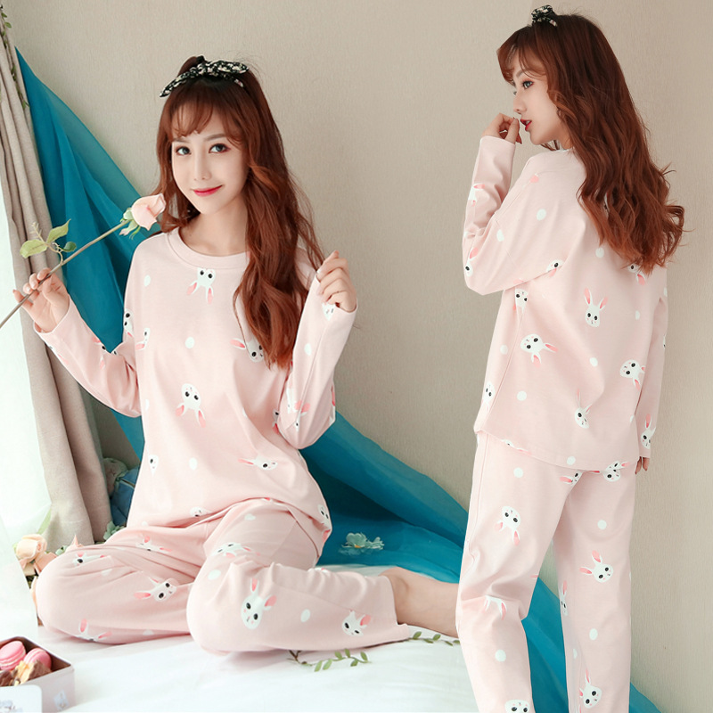 Spring And Autumn Pajamas Women's High Quality Qmilch Long-sleeve Suit Green Dotted Rabbit GIRL'S Home Wear