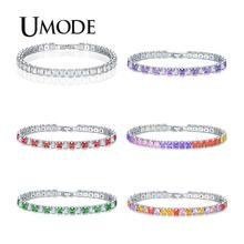 UMODE Mens/Women AAA+ Cubic Zirconia Tennis Bracelet Hip Hop Jewelry Iced Out 1 Row Gold CZ Charms Bracelet For Gifts  UB0178 xukim jewelry silver gold color cubic zirconia iced out paw dog cat claw pendant necklace hip hop jewelry