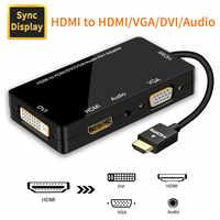 Hdmi divisor hdmi para vga hdmi dvi 4 k 60 hz adaptador para ps4 pro chromebook tv com áudio 3.5mm jack hdmi