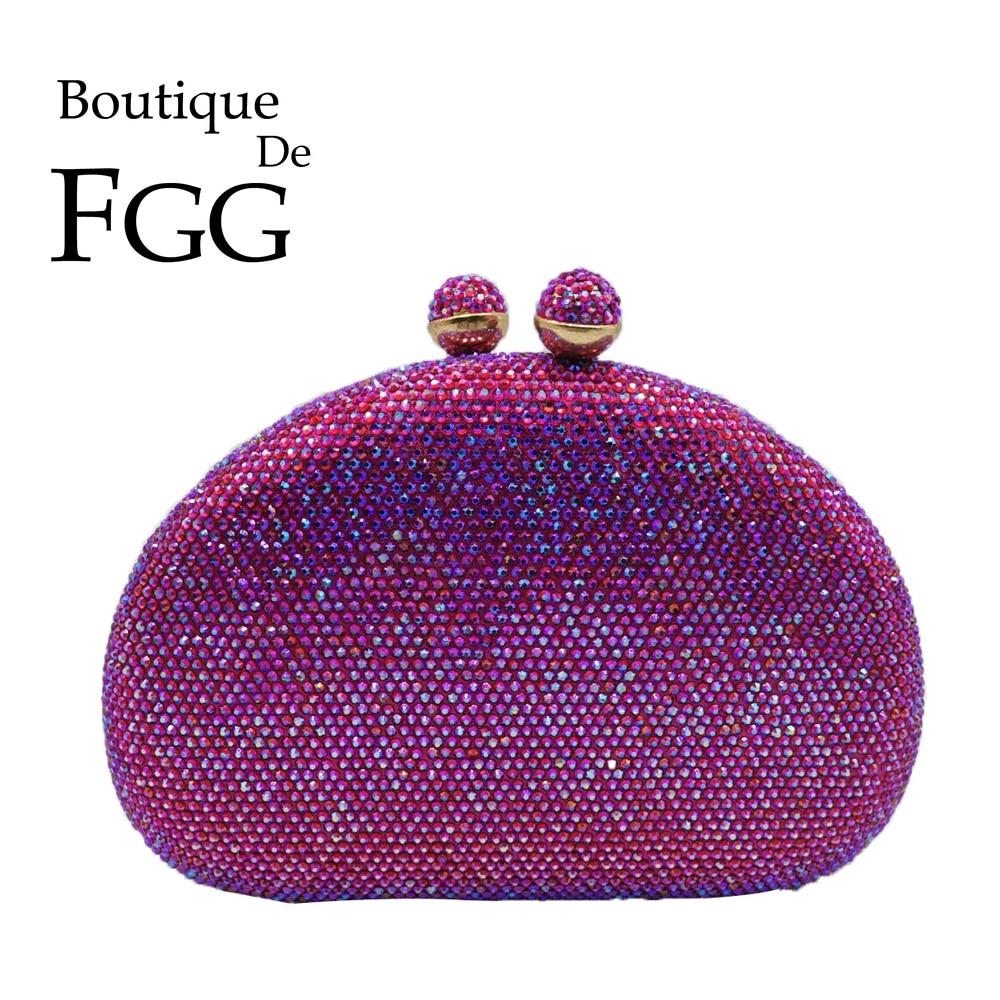 Boutique De FGG Elegant Purple Women Crystal Clutch Evening Bags Bridal Wedding Handbags Formal Party Dinner Rhinestones Purse
