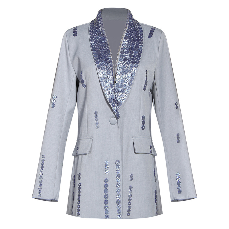 Suit Women 2020 New Heavy Industry Hand-nailed Button-up Decorative Suit Jacket Single Button Notched Women Jackets and Coats