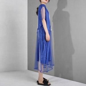 Image 3 - [EAM] جديد 2020 للربيع والصيف ، فستان قصير الاكمام مع فتحة مخططة باللون الازرق ، فستان كبير الحجم للنساء موضة WG9060